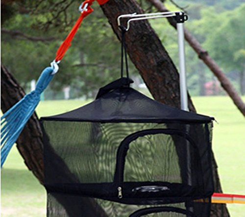 camping insect mesh camping dry net portable folding 3 tier hanging mesh foods and