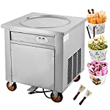 Forkwin Fried Ice Cream Machine 1800W 19.7inch Commercial Roll Maker Stainless Steel for Restaurant Snack Bar