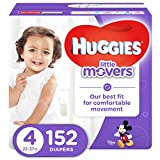 HUGGIES LITTLE MOVERS Active Baby Diapers, Size 4 (fits 22-37 lb.), 152 Ct, ECONOMY PLUS (Packaging May Vary)