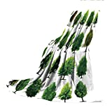 SCOCICI Blanket for Bed Couch Chair Fall Winter Spring Living Room,Nature,Mother Nature Gift Different Types of Trees and Pines Planes Bushes Art Print,White and Green,59.06' W x 86.62' H