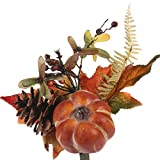 Factory Direct Craft Group of 6 Petite Fall Artificial Leaf and Pumpkin Floral Embellishing Picks