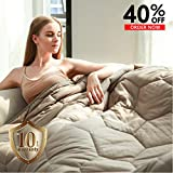 YEMYHOM 100% Cotton Weighted Blanket Adult Bed Heavy Blankets with Glass Beads (60'x80' 20 lbs, Stone)