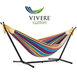 Vivere Double Cotton Hammock with Space Saving Steel Stand, Tropical (450 lb Capacity - Premium Carry Bag Included)