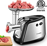 Aobosi Electric Meat Grinder 【1200W MAX】3-IN-1 Stainless Steel Food Grinder with 3 Stainless Steel Grinding Plates,Kubbe & Sausage Attachment Heavy Duty Motor for Fast Grinding