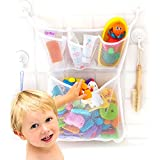 Bath Toy Organizer -The Original Tub Cubby - Large 14x20' Quick Dry Bathtub Mesh Net - Massive Baby Toy Storage Bin + 3 Soap Pockets - 2X Locking Suction Cup Hooks + 4X Adhesive Hooks