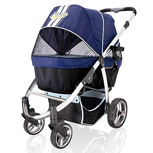 ibiyaya Double Dog Stroller for Large Dogs up to 77 Ibs, Aluminum Frame, 4-Wheel with Suspension