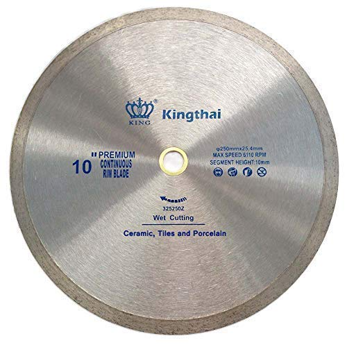 Kingthai 10' Continuous Rim Diamond Saw Blade for Cutting Porcelain Tiles Ceramic,Wet Cutting,7/8'-5/8' Arbor
