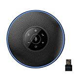 Bluetooth Speakerphone - eMeet M2 Black Conference Speaker for 5-8 People Business Conference Phone 360º Voice Pickup 4 AI Microphone Self-Adaptive Conference Call Speaker Skype, Webinar, Phone