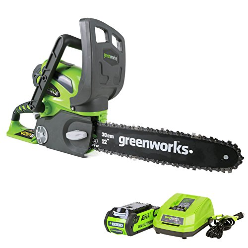 Greenworks 12-Inch 40V Cordless Chainsaw, 2.0 AH Battery Included 20262