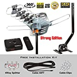FiveStar HDTV Antenna Amplified Digital Outdoor Antenna with Mounting Pole-150 Miles Range-360 Degree Rotation Wireless Remote-Snap-On Installation Support 5 TVs
