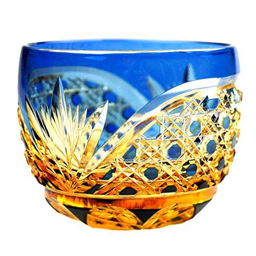 Crystal Sake Cup Edo Kiriko Guinomi Cut Glass Octagon Hakkaku-Kagome Pattern - Blue x Amber [Japanese Crafts Sakura]
