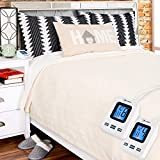 SimplyWarm Electric Heated Polar Fleece Blanket with Sensor-Safe Overheat Technology – New for 2018 HIGH TEC Digital Controller (Ivory, Queen w/Dual Controllers)