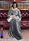 Sherpa Wearable Blanket for Adult Women and Men, Super Soft Comfy Warm Plush Throw with Sleeves TV Blanket Wrap Robe Cover for Lounge Chair Couch 72' x 55' Grey