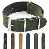 DASSARI Royal Nubuck Suede Watch Band Strap in 18mm 20mm 22mm 24mm, Green