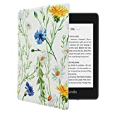 MOSISO PU Leather Case Compatible 2018 All-New Kindle Paperwhite 10th Generation, Premium Book Folio Slim-Fit Smart Tablet E-Reader Shell Protective Cover with Auto-Wake/Sleep Function, Daisy