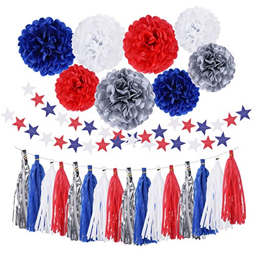 30PCS 4th of July Party Supplies Decorations Tissue Paper Pom Pom Blue Red Silver Flowers Patriotic Tassel Garland Banner for Graduation Wedding
