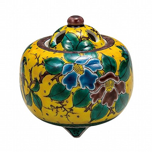 Jpanese traditional ceramic Kutani ware. Incense burner Koro. Yoshidaya camellia. With wooden box. ktn-K5-1470