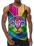 Loveternal Guy Workout Sleeveless T-Shirts Teens Funny Printed 3D Realistic Ringer Colorful Cat Graphic Tees Mens DJ Crewneck Ringer Rave Tank Tops Undershirt M