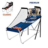Premium Shootout Basketball Arcade Game, Home Dual Shot with LED Lights and Scorer - 8-Option Interactive Indoor Basketball Hoop Game with Double Hoops, 7 Basketballs, Pump - Foldable Space Saver