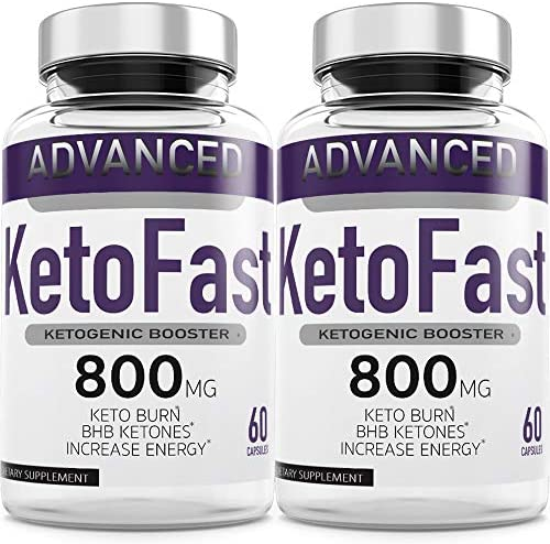 Keto Fast Diet Pills (2 Pack), Keto Fast Burn Weight Management Capsules 800 mg, Pure Keto Fast Supplement for Energy, Focus - BHB Ultra Boost Exogenous Ketones for Rapid Ketosis for Men Women 3