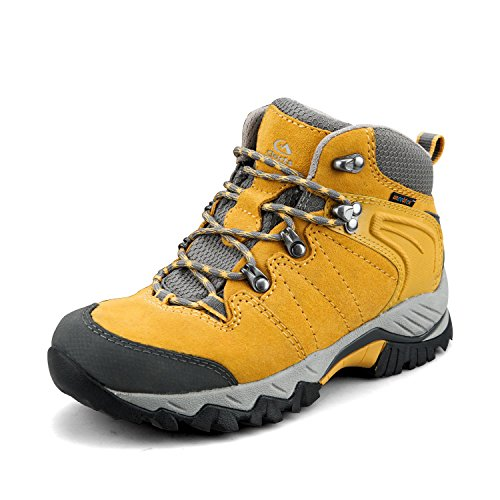 Clorts Women's Hiker Leather Waterproof Hiking Boot Outdoor Backpacking Shoe Yellow HKM-822F US9.5