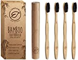 Bamboo Toothbrush with Travel Case - Biodegradable - Eco and Vegan, Charcoal Infused Soft Bristles for Natural Teeth Whitening - Recycled Paper Packaging, 4-Pack, Zero Waste Gift by Leafico
