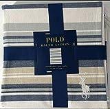 POLO BY RALPH LAUREN Men's Navy/White/Beige Stripe Cotton Throw Blanket 50X70IN
