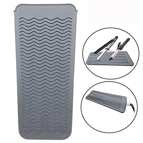 Heat Resistant Silicone Mat Pouch, Lessmon Hair Styling Tools for Curling Irons, Hair Straightener, Flat Irons, Height 11.5 & Width 6 Inches, Food Grade Silicone, Gray