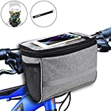 Bike Handlebar Bag, Bike Basket with | 2 Mesh Pockets - Cold & Warm Insulation - Reflective Stripe - Touchable Transparent Phone Pouch | Bicycle Front Bag, Bike Pouch for Cycling, Women, Cruisers