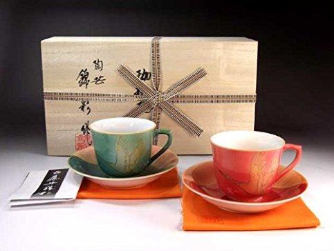 Traditional crafts | Arita - cinnabar MidoriAyaçÖ‹àAya auspicious Fuji crane picture coffee cup pair set | potter Fujii NishikiAya