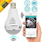 Light Camera Security 1080p WiFi Wireless Smart spy Bulb Camera Home Security Surveillance Video System Light Bulb Panoramic Camera 1080 IP 360 fisheye for Kids pet Dog cat