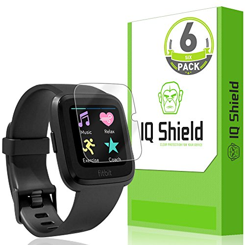 IQShield Fitbit Versa Screen Protector (6-Pack), LiQuidSkin Screen Protector for Fitbit Versa HD Clear Anti-Bubble Film