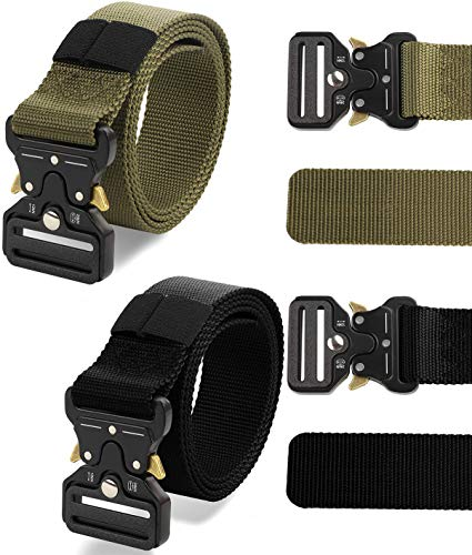 FIBO STEEL 2 Pcs Tactical Belt for Men Heavy Duty Webbing Riggers Web Military Style with Quick-Release Metal Buckle Adjustable 115cm