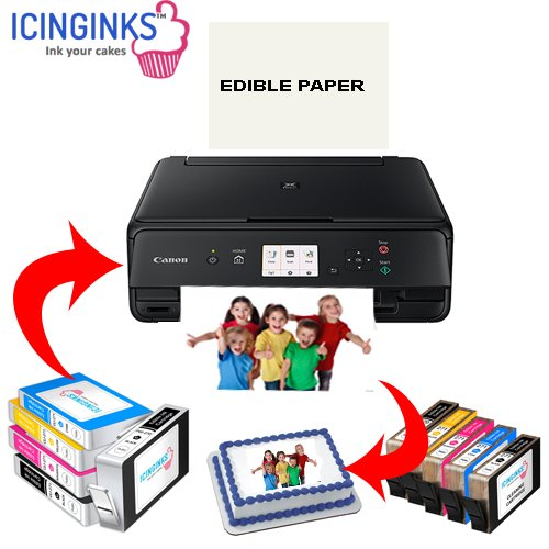 Icinginks Latest Edible Printer Deluxe Package - Comes With Edible Printer, Edible Ink Cartridges, Edible Cleaning Cartridges, Edible Paper- Best Cake Printer Edible Image Printer Canon Edible Printer
