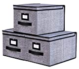 Onlyeasy Collapsible Storage Bins Pack of 3 - Foldable Storage Box Containers Organizer with Dust-Proof Lids and Strong Handles, 11.8'x15.7'x9.8', Large, Black, 9MXALB03PLP