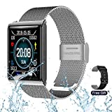 RZATU Smart Watch for Android Phones Fitness Tracker with Heart Rate Monitor Blood Pressure Sleep Waterproof Smartwatch Steel Activity Tracker with Color Screen Compatible for iOS Silver