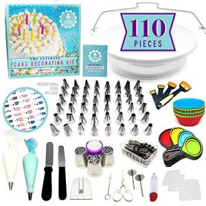 NEW!!! 110pc Ultimate Cake Decorating Supplies Kit, Rotating Cake Decorating Turntable,48 Piping Tips, 3-Russian Nozzles, Piping Bags,Baking Supplies,Cupcake Decorating Kit,Icing Tips,Decorating Tools 51oaxbXyWfL