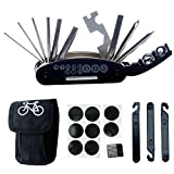 DAWAY B32 Bike Repair Tool Kits - 16 in 1 Multi Function Bicycle Mechanic Fix Tools Set Bag Included Glueless Tire Tube Patches & Tire Levers