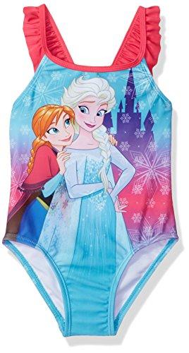 Disney Princess Girls' Toddler Frozen Swimsuit, Sky Blue, 2T