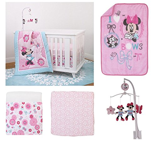 5pc Disney Minnie Mouse Crib Bedding, Mobile & Blanket Set