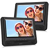 NAVISKAUTO 9' Car DVD Player Dual Screen, Headrest Video Player with 5 Hour Rechargeable Battery, Last Memory and USB/SD Card Slot (Host DVD Player+ Slave Monitor)
