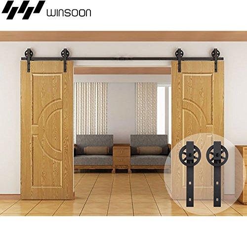 WINSOON 13FT Wood Double Sliding Barn Door Hardware Basic Black Big Spoke Wheel Roller Kit,5-18FT for Choose