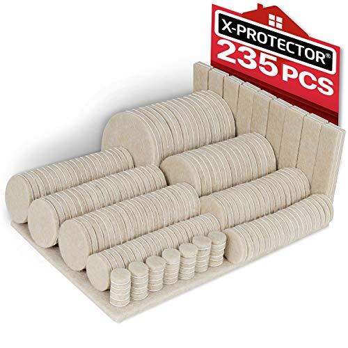Felt Pads X-PROTECTOR - Giant 235 Pack Premium Furniture Pads. Huge Quantity Felt Furniture Pads Wood Floor Protectors for Furniture Feet - Best Hardwood Floor Protectors. Protect Your Wood Floors!