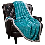 Chanasya Warm Hugs Positive Energy Healing Thoughts Super Soft Fleece Sherpa Microfiber Comfort Caring Teal Blue Gift Throw Blanket - Get Well Soon Gift for Women Men Cancer Patient - Teal Blanket
