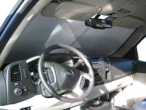The Original Windshield Sun Shade, Custom-Fit for GMC Yukon SUV 2007, 2008, 2009, 2010, 2011, 2012, 2013, 2014, Silver Series