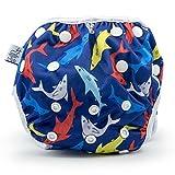 Eco-Friendly Reusable Baby Swim Diapers (Sizes N-5) - Adjustable, Easy-Wash Nageuret Reusable Swim Diaper Boys & Girls - Soft, Breathable, Waterproof Swim Wear for Baby & Newborn! (Sharks)