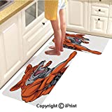 Rubber Anti-Skid Carpet 2piece Suit,Muscular Fierce Fox Character Fighting Sports Animal Mascot Punching Monster Decorative,Comfortable Soft Floor mat,16'x24'by18 x46 Suitable for Living Room,kitche