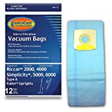 EnviroCare Replacement Vacuum Bags to fit Riccar 2000, 4000 and Vibrance Series. Simplicity 5000, 6000 and Symmetry Type A 12 pack