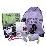 Unplugged Explorers 9 Piece Kids Outdoor Toys Kids Adventure Kit - Purple or Yellow Backpack, Binoculars, Flashlight, Compass, Bug Collector, Whistle, Magnifying Glass - Kid Explorer Kit, STEM Gift