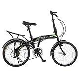Stowabike 20' Folding City V3 Compact Foldable Bike - 6 Speed Shimano Gears Black